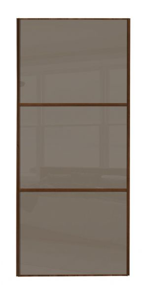 Wideline sliding wardrobe door, Walnut frame/ Cappuccino glass